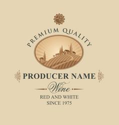 wine label with european village landscape vector image