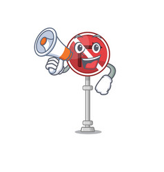with megaphone no right turn isolated with mascot vector image