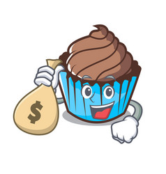 with money bag chocolate cupcake character cartoon vector image