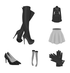Women s clothing monochrome icons in set vector