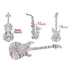 Word clouds and notes in shape of guitars violin vector