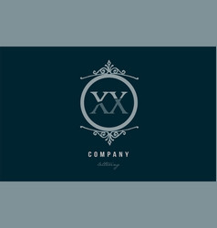 xx x x blue decorative monogram alphabet letter vector image