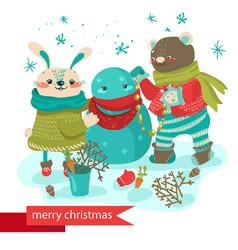 cartoon rabbit and bear making snowman vector image vector image