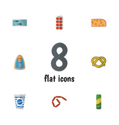 Flat icon eating set of canned chicken cookie vector