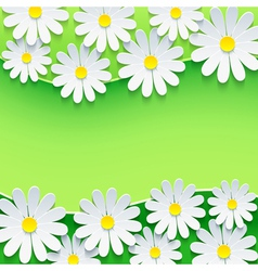Floral green background frame with 3d chamomile vector image