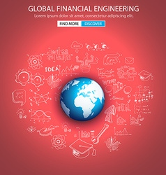 Global Financial Engineering concept with Doodle vector image