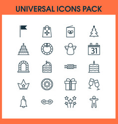 New icons set with decorated tree archangel date vector