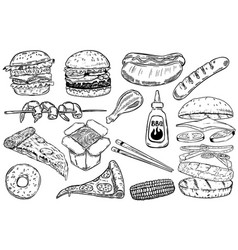 set of hand drawn fast food burger pizza hot dog vector image vector image