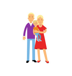 young parents posing with their little son vector image vector image