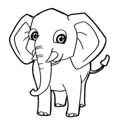 cartoon cute elephant coloring page vector image vector image