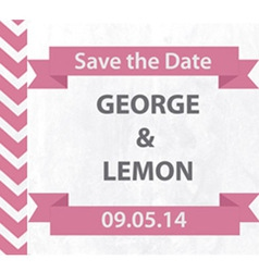 Save the Date Pink Chevron with Banner vector image