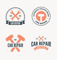 set of vintage mechanic labels emblems and logo vector image