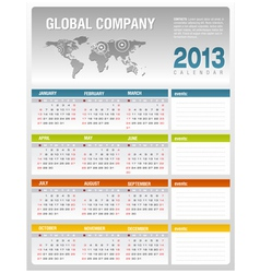 2013 corporate calendar template vector image vector image