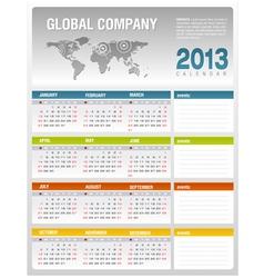 2013 corporate calendar template vector image