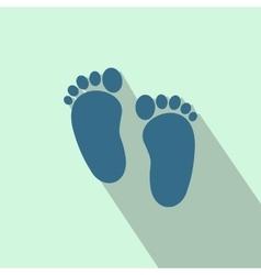 Baby footprints flat icon vector image