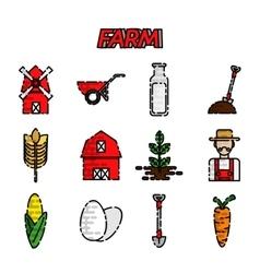 Farm flat icons set vector image