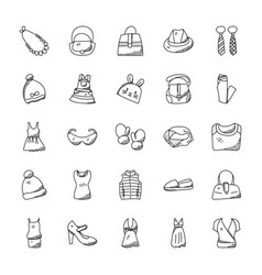 fashion doodle icons set vector image vector image