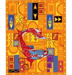 Fish and the African ornament vector image