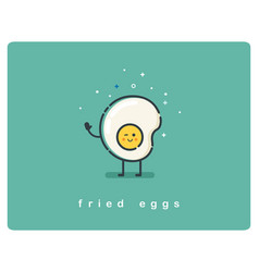 flat fried egg character breakfast food icon vector image vector image