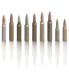 set of photorealistic cartridges with a bullet vector image