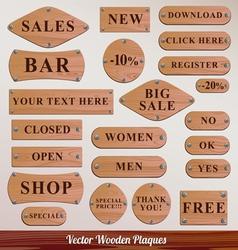 Set wooden plaque vector