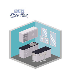 isometric floor plan of kitchen with worktop and vector image