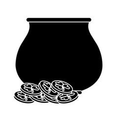 st patricks day pot coin treasure pictogram vector image