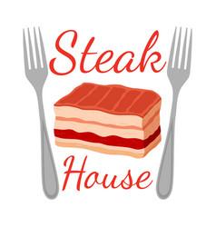 steak house logo label fork meat flat vector image