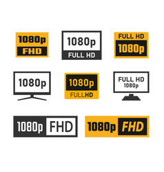 1080p full hd icons set fhd screen resolution vector