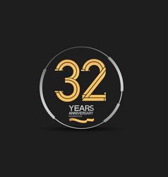 32 years golden anniversary logotype golden vector