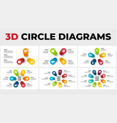 3d perspective infographics pack round vector image