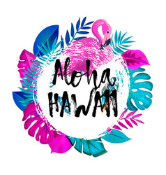 aloha hawaii gteeting banner tropical palm leaves vector image