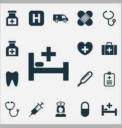 Antibiotic icons set collection of pellet heal vector