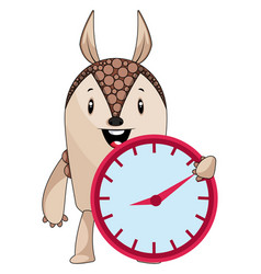armadillo with clock on white background vector image