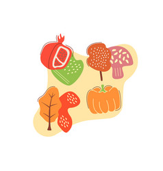 Autumn gathering flat concept with abstract shapes vector
