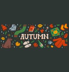 Autumn horizontal banner or social media cover vector