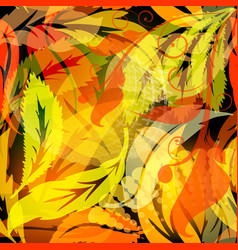 autumn leaves glowing seamless pattern abstract vector image