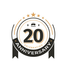 birtday vintage logo template to 20 th anniversary vector image