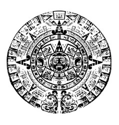 Black and white mayan calendar lots of high vector