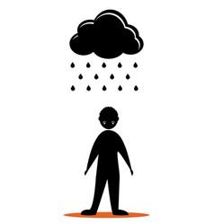 Black cloud sad men vector