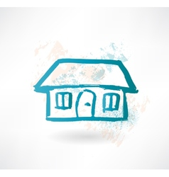 Blue cartoon house Brush icon vector image