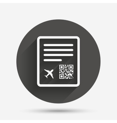 Boarding pass flight sign icon Airport ticket vector image