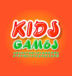 bright banner kids games with artistic font vector image