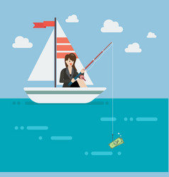 Business woman fishing money vector