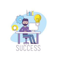 businessman in the office with computer vector image