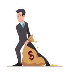 businessman or manager drags a bag full of money vector image