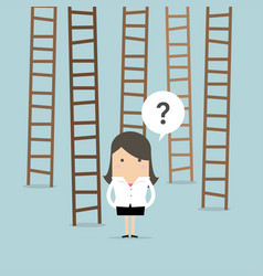 Businesswoman choices ladder to success vector