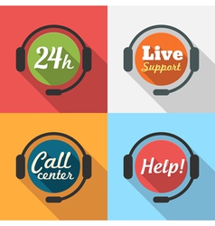 Call center customer service support flat icon set vector