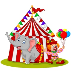 Cartoon cute elephant and clown with circus tent vector