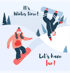 Cartoon of snowboard couple of vector